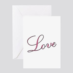 Love Script in Pink and Black Greeting Cards