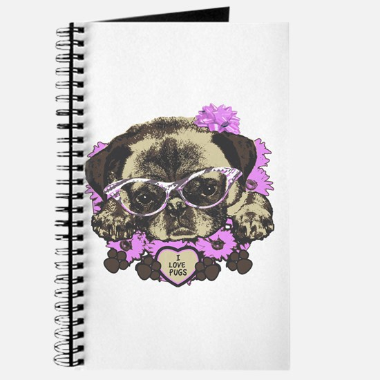 Pug in pink flowers Journal