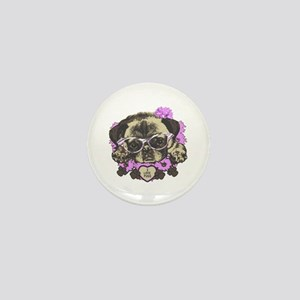 Pug in pink flowers Mini Button