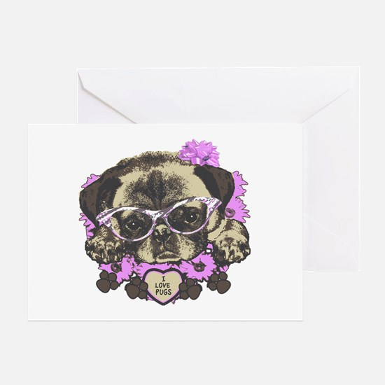 Pug in pink flowers Greeting Card