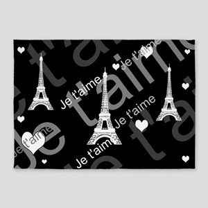 Trendy Black White French I LOVE PARIS 5'x7'Area R