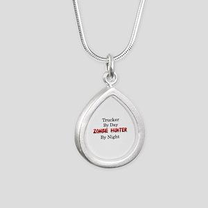 Trucker/Zombie Hunter Silver Teardrop Necklace