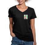 Franzonello Women's V-Neck Dark T-Shirt
