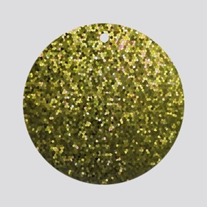 Gold Mosaic Sparkley 1 Ornament (Round)
