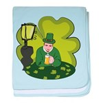 St Patricks Day Man with Beer baby blanket