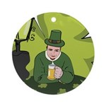 St Patricks Day Man with Beer Ornament (Round)