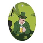 St Patricks Day Man with Beer Ornament (Oval)
