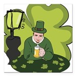 St Patricks Day Man with Beer Square Car Magnet 3