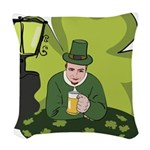 St Patricks Day Man with Beer Woven Throw Pillow