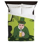 St Patricks Day Man with Beer Queen Duvet