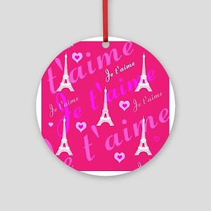Trendy Pink + White I LOVE PARIS Ornament (Round)