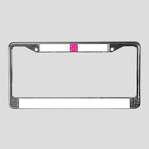 Trendy Pink + White I LOVE PARIS License Plate Fra