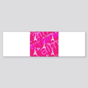 Trendy Pink + White I LOVE PARIS Bumper Sticker