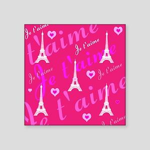 Trendy Pink + White I LOVE PARIS Sticker