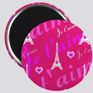 Trendy Pink + White I LOVE PARIS Magnets