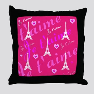 Trendy Pink + White I LOVE PARIS Throw Pillow