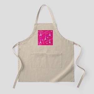 Trendy Pink + White I LOVE PARIS Apron