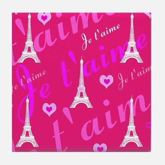 Trendy Pink + White I LOVE PARIS Tile Coaster