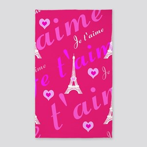 Trendy Pink + White I LOVE PARIS 3'x5' Area Rug