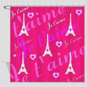 Trendy Pink + White I LOVE PARIS Shower Curtain