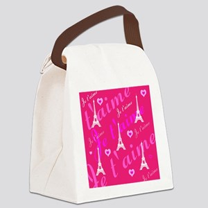 Trendy Pink + White I LOVE PARIS Canvas Lunch Bag