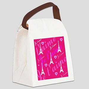 Trendy Pink + White I LOVE PARIS Canvas Lunch Bag