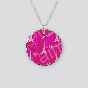 Trendy Pink + White I LOVE PARIS Necklace Circle C