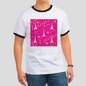 Trendy Pink + White I LOVE PARIS T-Shirt
