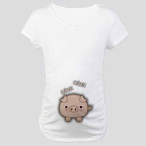 Cute Pink Pig Oink Maternity T-Shirt