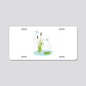 Cattails and Dragonflies Aluminum License Plate