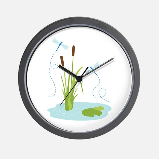 Cattails and Dragonflies Wall Clock