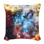 Colorful Star Clusters Collision Woven Throw Pillo