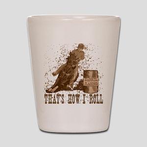 horse barrel racing roll Shot Glass