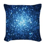 Blue Star Cluster Woven Throw Pillow