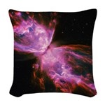 Butterfly Nebula Pink Woven Throw Pillow