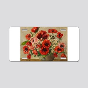 Red Poppy Bouquet Aluminum License Plate