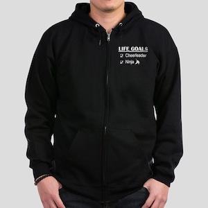 Cheerleader Ninja Life Goals Zip Hoodie (dark)