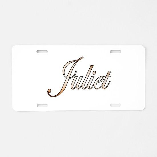 Gold Juliet Aluminum License Plate