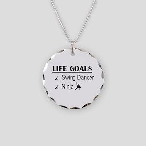 Swing Dancer Ninja Life Goal Necklace Circle Charm
