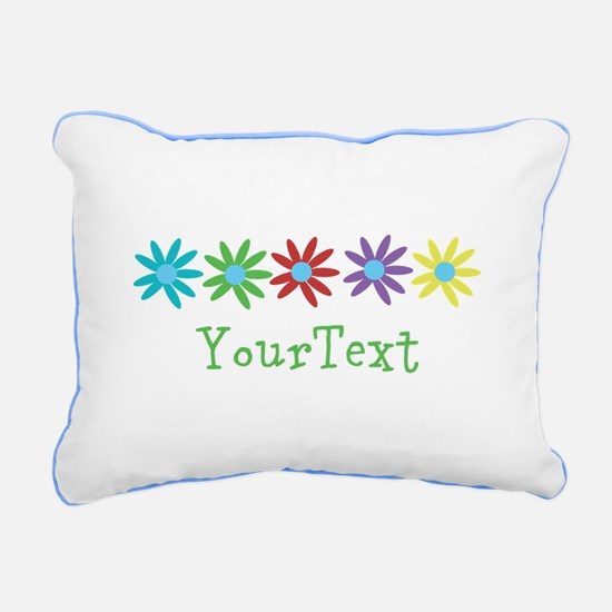 Personalize Flowers Rectangular Canvas Pillow