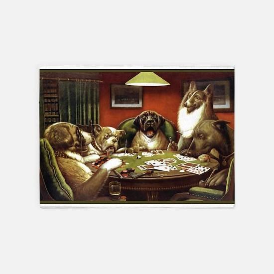 Waterloo Dog Poker 5'x7'area Rug