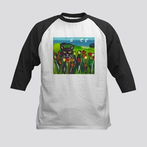 Black cat amongst tulips Kids Baseball Jersey