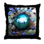 Magic Blue Marble Throw Pillow