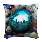 Magic Blue Marble Woven Throw Pillow