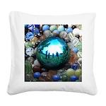 Magic Blue Marble Square Canvas Pillow