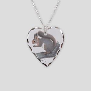 Vintage Squirrel Necklace Heart Charm