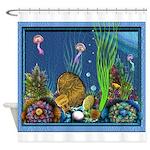 Fractal Spiral Shell Beads Shower Curtain