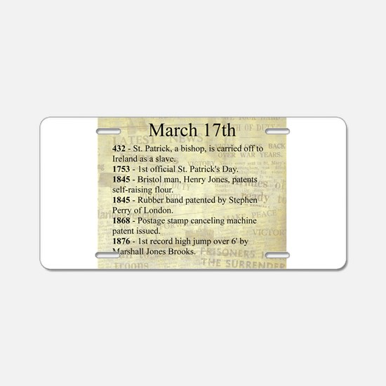 March 17th Aluminum License Plate