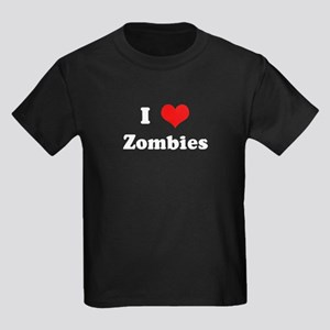 I Love Zombies Kids Dark T-Shirt