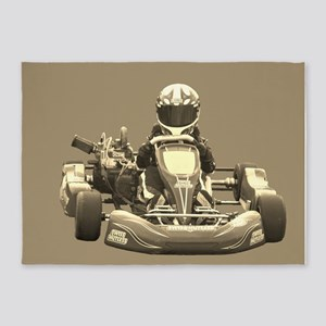 Kart Racer in Sepia 5'x7'Area Rug